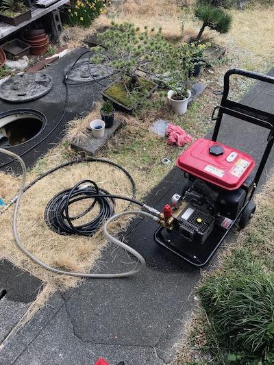 静岡市葵区上土 屋外排水管高圧洗浄作業