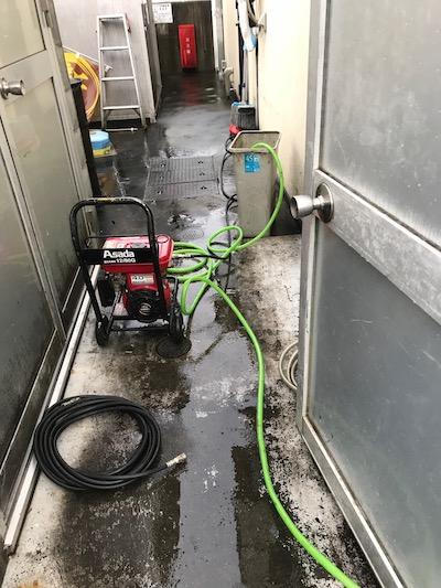静岡市清水区秋吉町 排水管高圧洗浄作業