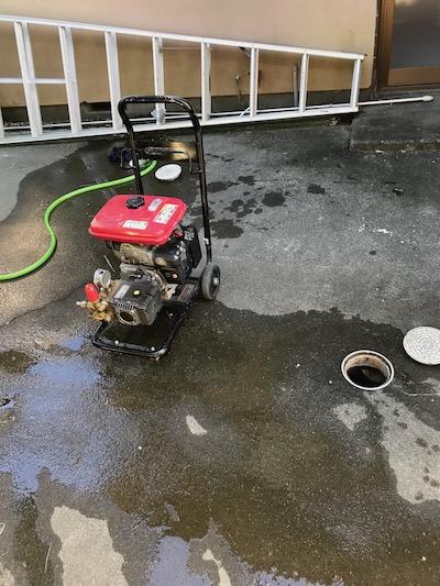 静岡市駿河区用宗  台所排水高圧洗浄作業